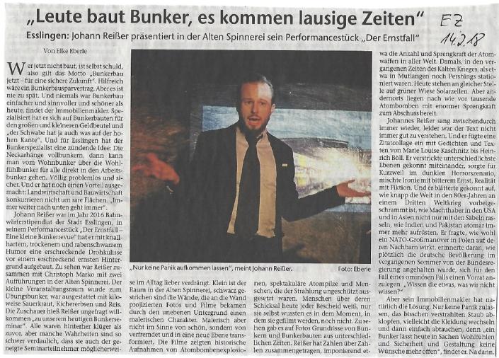 Besprechung Esslinger Zeitung Der Ernstfall Bunkerrevue_14terFeb18