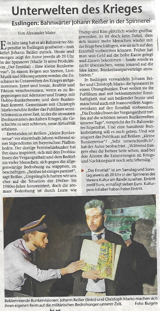 Esslinger Zeitung Der Ernstfall Bunkerrevue_Feb18