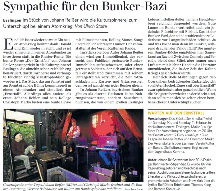 Stuttgarter Zeitung Der Ernstfall Bunkerrevue Feb18